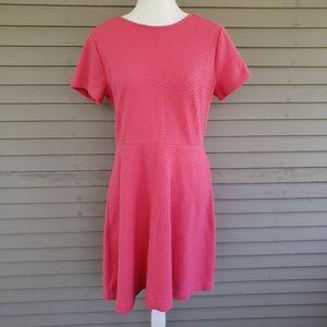 NWT LOFT Pink Waffle Knit Skater Dress Size 12